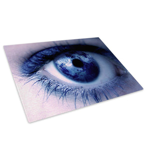 Blue Earth Eye Map Glass Chopping Board Kitchen Worktop Saver Protector - AB049