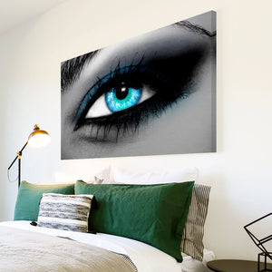AB050 Framed Canvas Print Colourful Modern Abstract Wall Art - Blue Black White Eye-Canvas Print-WhatsOnYourWall