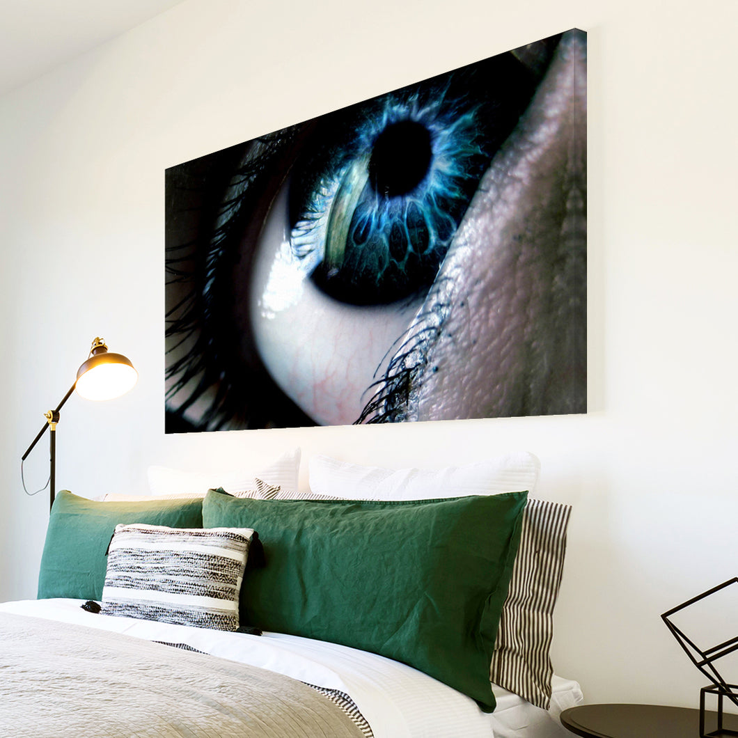 AB051 Framed Canvas Print Colourful Modern Abstract Wall Art -  Blue Black Eye cool
