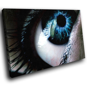 AB051 Framed Canvas Print Colourful Modern Abstract Wall Art -  Blue Black Eye cool - WhatsOnYourWall
