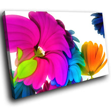 AB052 Framed Canvas Print Colourful Modern Abstract Wall Art - Pink Blue Orange Flowers-Canvas Print-WhatsOnYourWall