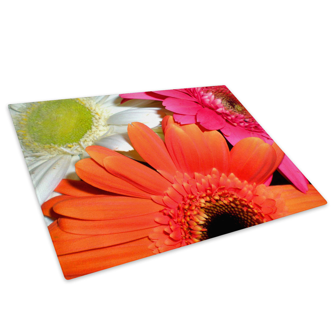 Orange White Pink Flower Glass Chopping Board Kitchen Worktop Saver Protector - AB053-Abstract Chopping Board-WhatsOnYourWall