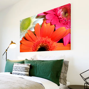 AB053 Framed Canvas Print Colourful Modern Abstract Wall Art - Orange White Pink Flower-Canvas Print-WhatsOnYourWall