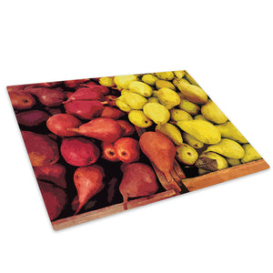 Yellow Red Fruit Cool Glass Chopping Board Kitchen Worktop Saver Protector - AB054-Abstract Chopping Board-WhatsOnYourWall