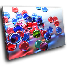 AB056 Framed Canvas Print Colourful Modern Abstract Wall Art - Blue Red 3D Marbles-Canvas Print-WhatsOnYourWall