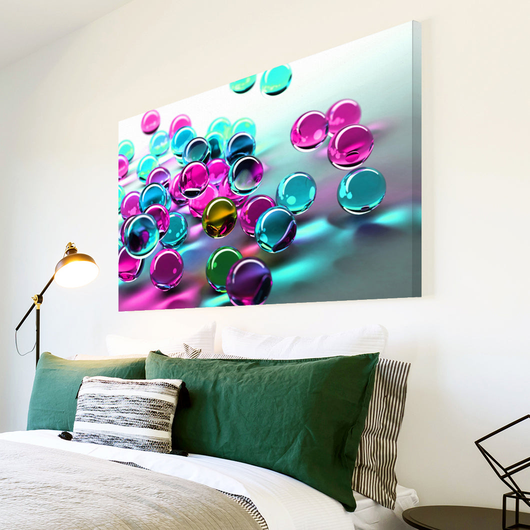AB057 Framed Canvas Print Colourful Modern Abstract Wall Art - Pink Blue 3D Marbles-Canvas Print-WhatsOnYourWall