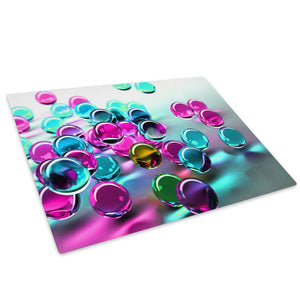 Pink Blue 3D Marbles Glass Chopping Board Kitchen Worktop Saver Protector - AB057