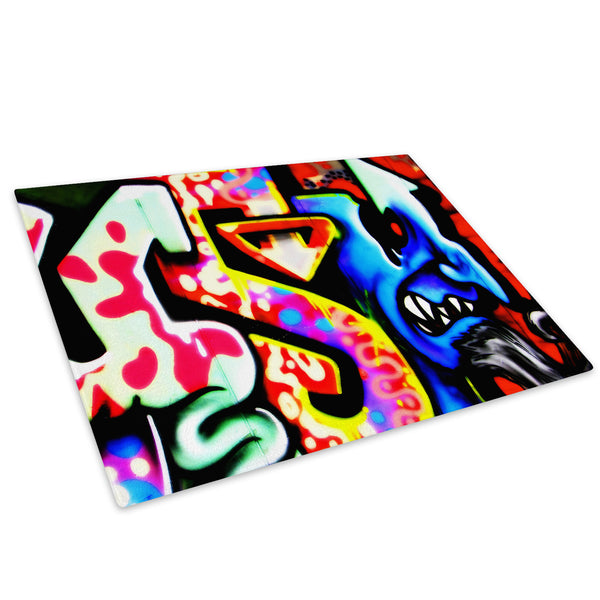 Blue Graffiti Urban Glass Chopping Board Kitchen Worktop Saver Protector - AB059-Abstract Chopping Board-WhatsOnYourWall