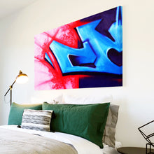 AB060 Framed Canvas Print Colourful Modern Abstract Wall Art - Blue Red Graffiti-Canvas Print-WhatsOnYourWall