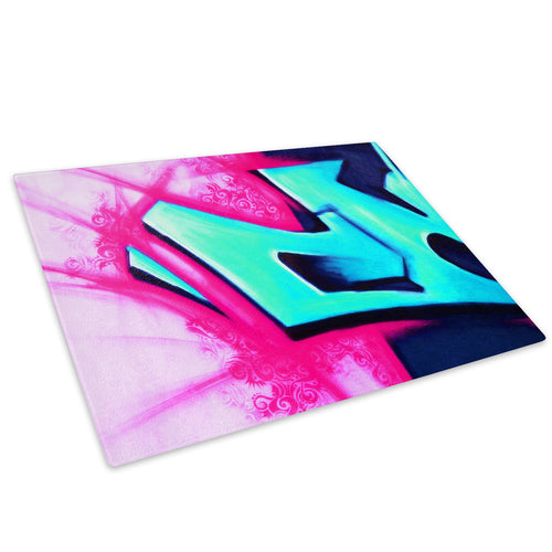 Blue Red Graffiti Glass Chopping Board Kitchen Worktop Saver Protector - AB061-Abstract Chopping Board-WhatsOnYourWall