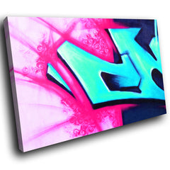 AB061 Framed Canvas Print Colourful Modern Abstract Wall Art - Blue Red Graffiti-Canvas Print-WhatsOnYourWall