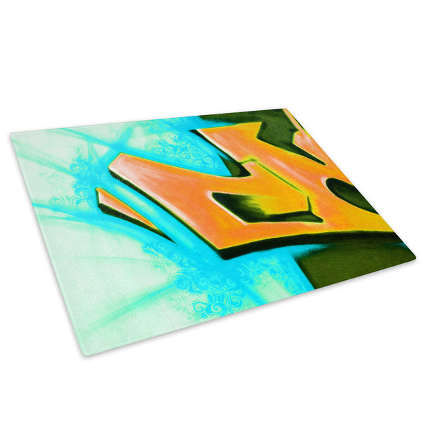Blue Red Graffiti Glass Chopping Board Kitchen Worktop Saver Protector - AB062-Abstract Chopping Board-WhatsOnYourWall