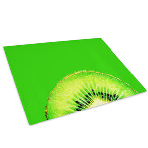 Green Fruit Kiwi Glass Chopping Board Kitchen Worktop Saver Protector - AB066-Abstract Chopping Board-WhatsOnYourWall