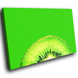 AB066 Framed Canvas Print Colourful Modern Abstract Wall Art - Green Fruit Kiwi-Canvas Print-WhatsOnYourWall
