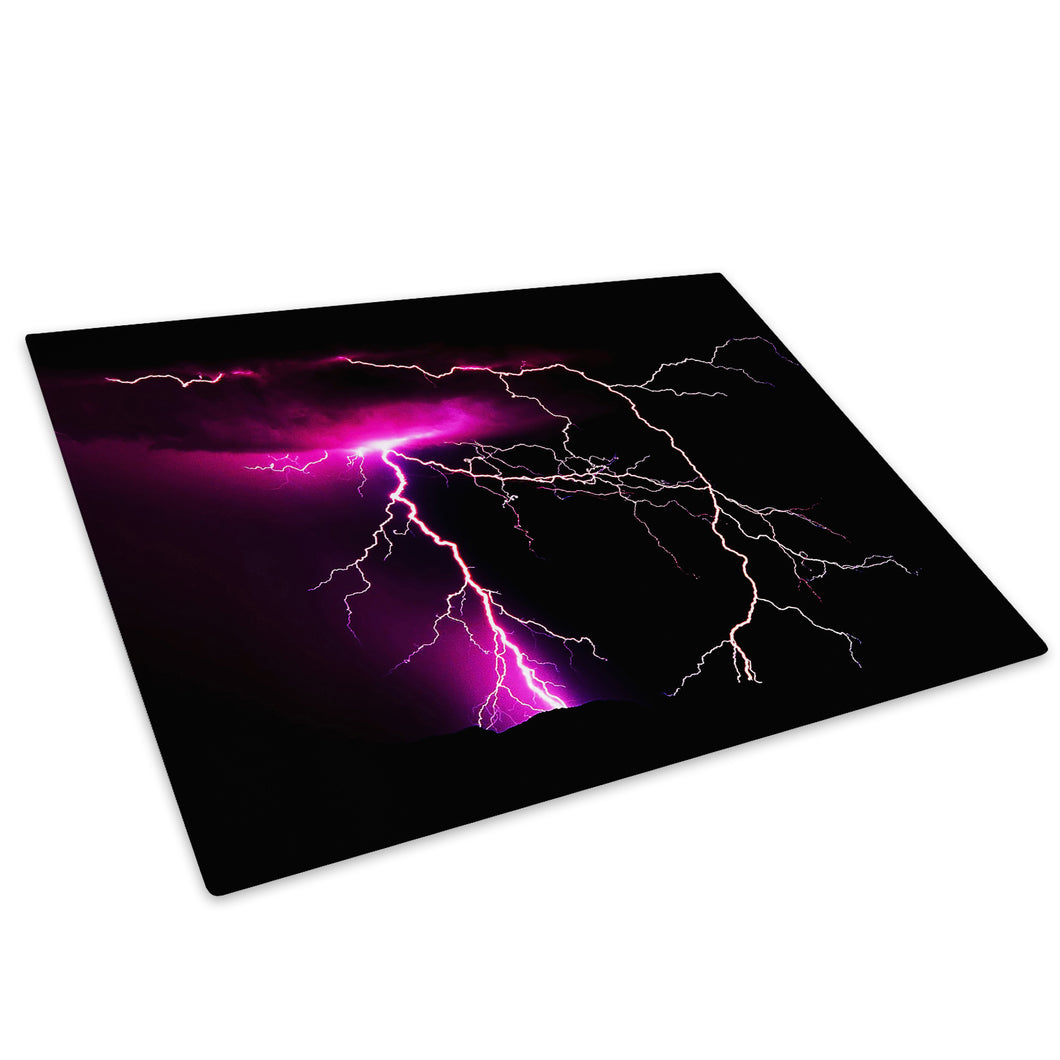 Purple Black Lightning Glass Chopping Board Kitchen Worktop Saver Protector - AB067-Abstract Chopping Board-WhatsOnYourWall