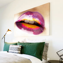 AB068 Framed Canvas Print Colourful Modern Abstract Wall Art - Purple Yellow Lips-Canvas Print-WhatsOnYourWall