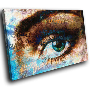 AB069 Framed Canvas Print Colourful Modern Abstract Wall Art -  Blue Brown Eye Rustic - WhatsOnYourWall