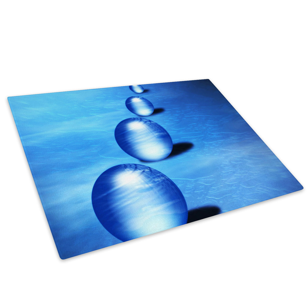 Blue Balls Circles Glass Chopping Board Kitchen Worktop Saver Protector - AB070-Abstract Chopping Board-WhatsOnYourWall
