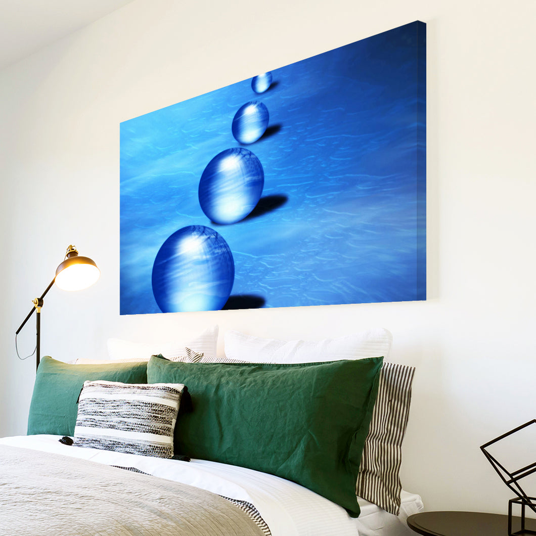 AB070 Framed Canvas Print Colourful Modern Abstract Wall Art - Blue Balls Circles-Canvas Print-WhatsOnYourWall