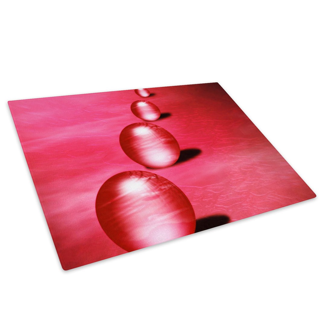 Red Balls Circles Glass Chopping Board Kitchen Worktop Saver Protector - AB071-Abstract Chopping Board-WhatsOnYourWall