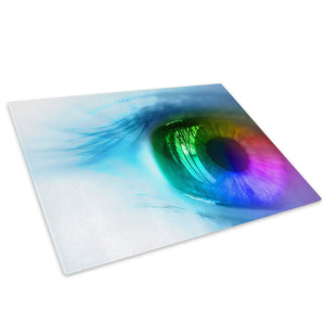 Blue Rainbow Eye Glass Chopping Board Kitchen Worktop Saver Protector - AB072-Abstract Chopping Board-WhatsOnYourWall