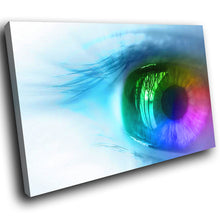 AB072 Framed Canvas Print Colourful Modern Abstract Wall Art - Blue Rainbow Eye-Canvas Print-WhatsOnYourWall