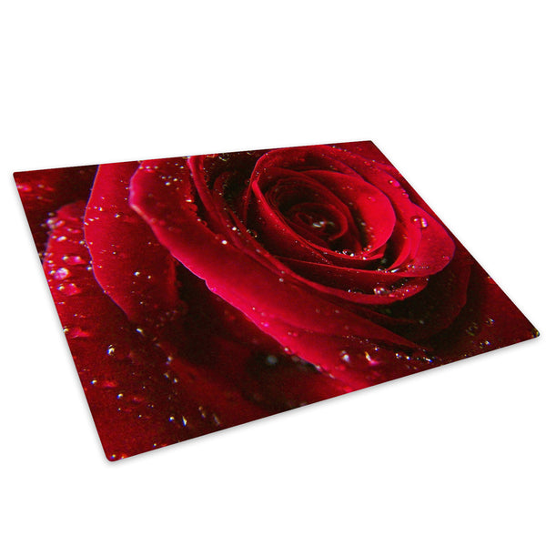 Red Rose Rain Drops Glass Chopping Board Kitchen Worktop Saver Protector - AB074-Abstract Chopping Board-WhatsOnYourWall