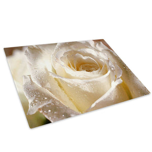 White Rose Rain Drops Glass Chopping Board Kitchen Worktop Saver Protector - AB075-Abstract Chopping Board-WhatsOnYourWall