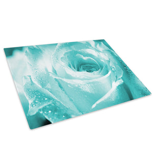 Blue Rose Rain Drops Glass Chopping Board Kitchen Worktop Saver Protector - AB076-Abstract Chopping Board-WhatsOnYourWall