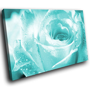 AB076 Framed Canvas Print Colourful Modern Abstract Wall Art - Blue Rose Rain Drops-Canvas Print-WhatsOnYourWall