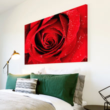 AB077 Framed Canvas Print Colourful Modern Abstract Wall Art - Red Rose Rain Drops-Canvas Print-WhatsOnYourWall