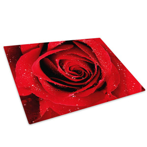 Red Rose Rain Drops Glass Chopping Board Kitchen Worktop Saver Protector - AB077-Abstract Chopping Board-WhatsOnYourWall