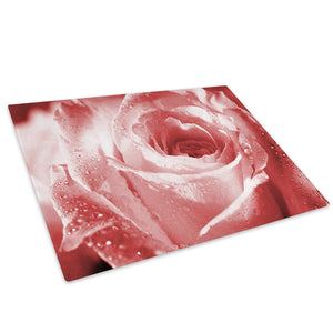 Pink Rose Rain Drops Glass Chopping Board Kitchen Worktop Saver Protector - AB079-Abstract Chopping Board-WhatsOnYourWall