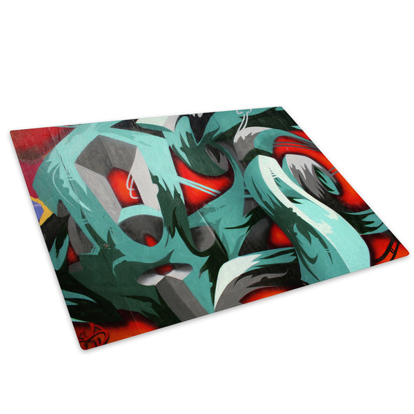 Blue Red Graffiti Glass Chopping Board Kitchen Worktop Saver Protector - AB080-Abstract Chopping Board-WhatsOnYourWall