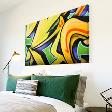 AB083 Framed Canvas Print Colourful Modern Abstract Wall Art -  Yellow Green Graffiti