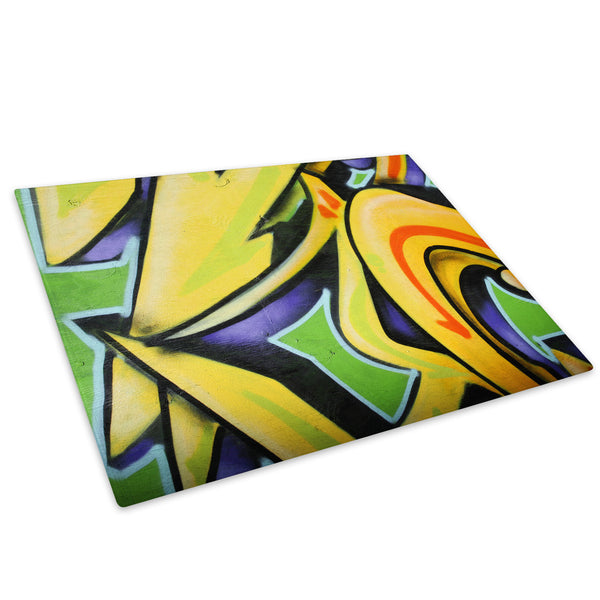 Yellow Green Graffiti Glass Chopping Board Kitchen Worktop Saver Protector - AB083-Abstract Chopping Board-WhatsOnYourWall
