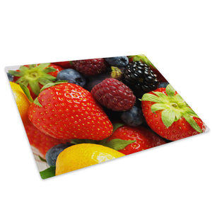 Red Fruit Kitchen Glass Chopping Board Kitchen Worktop Saver Protector - AB085-Abstract Chopping Board-WhatsOnYourWall