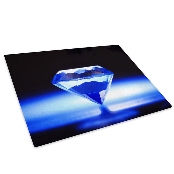 Blue Diamond Pattern Glass Chopping Board Kitchen Worktop Saver Protector - AB086-Abstract Chopping Board-WhatsOnYourWall