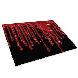 Red Dripping Paint Glass Chopping Board Kitchen Worktop Saver Protector - AB087-Abstract Chopping Board-WhatsOnYourWall