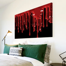 AB087 Framed Canvas Print Colourful Modern Abstract Wall Art -  Red Dripping Paint