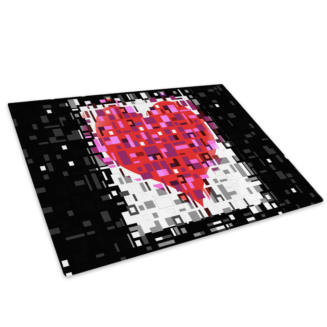 Pink Black Heart Cool Glass Chopping Board Kitchen Worktop Saver Protector - AB090