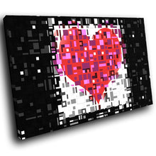 AB090 Framed Canvas Print Colourful Modern Abstract Wall Art - Pink Black Heart Cool-Canvas Print-WhatsOnYourWall