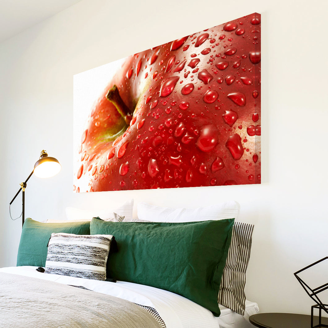 AB091 Framed Canvas Print Colourful Modern Abstract Wall Art - Red Apple Fruit Cool-Canvas Print-WhatsOnYourWall