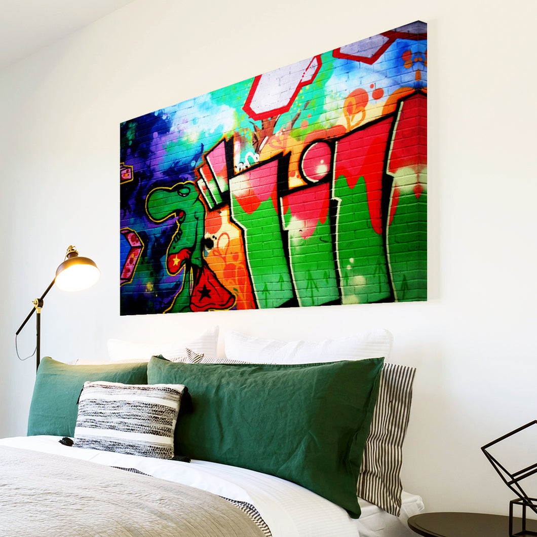 AB093 Framed Canvas Print Colourful Modern Abstract Wall Art - Green Urban Graffiti-Canvas Print-WhatsOnYourWall