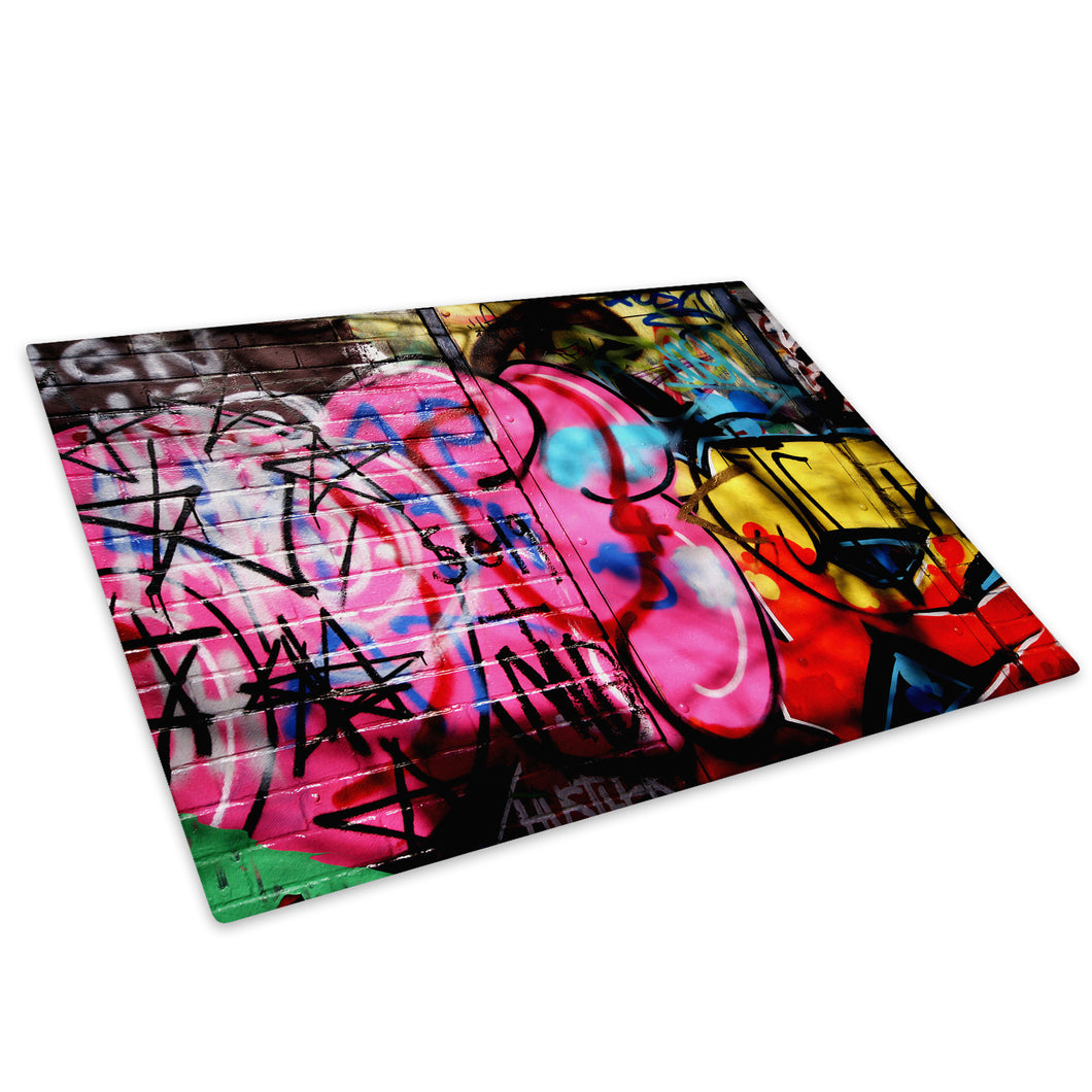 Pink Urban Graffiti Glass Chopping Board Kitchen Worktop Saver Protector - AB094-Abstract Chopping Board-WhatsOnYourWall