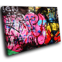 AB094 Framed Canvas Print Colourful Modern Abstract Wall Art - Pink Urban Graffiti-Canvas Print-WhatsOnYourWall