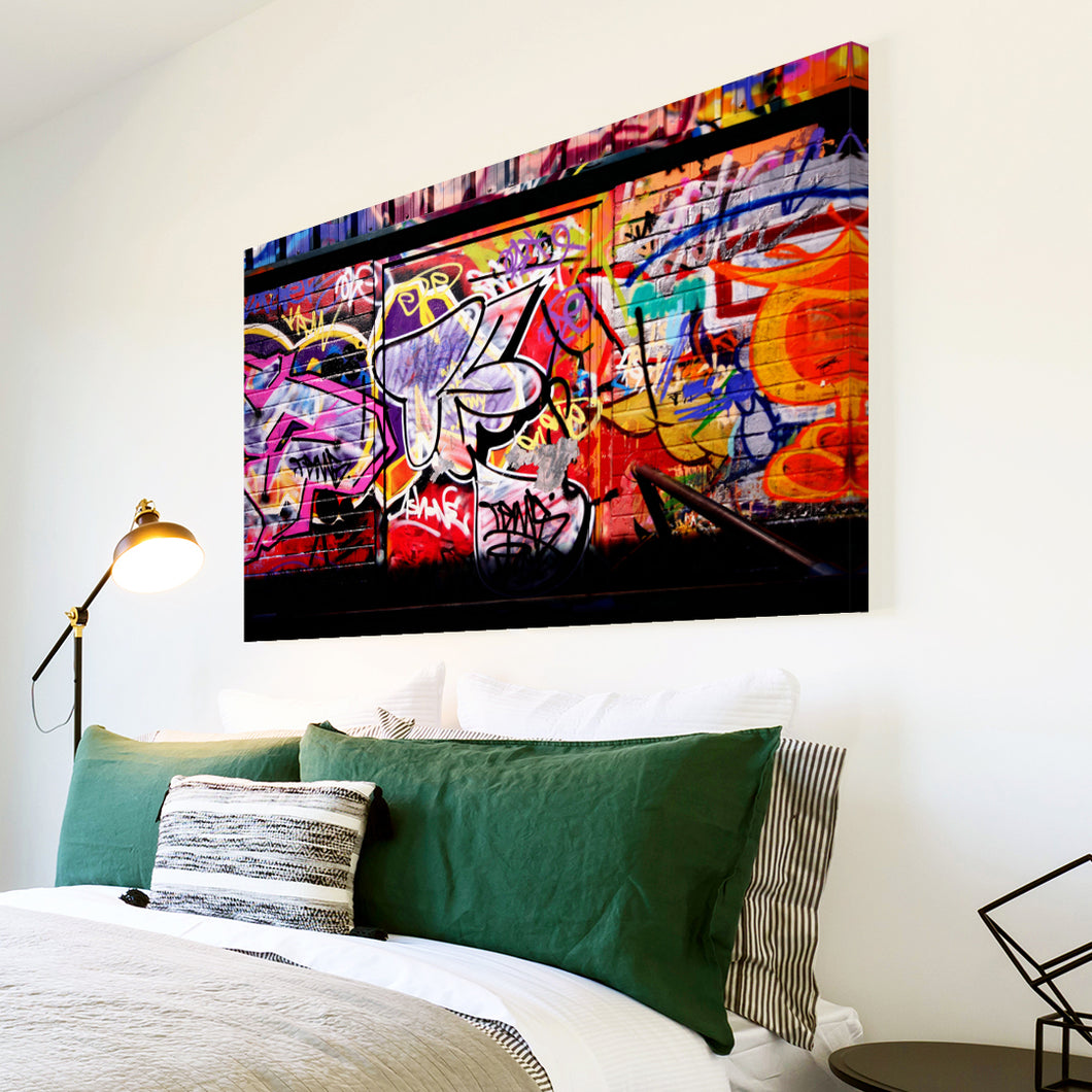 AB095 Framed Canvas Print Colourful Modern Abstract Wall Art - Blue Yellow Graffiti-Canvas Print-WhatsOnYourWall