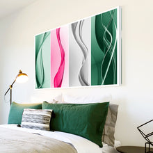 AB096 Framed Canvas Print Colourful Modern Abstract Wall Art - Pink Grey Green Wave-Canvas Print-WhatsOnYourWall