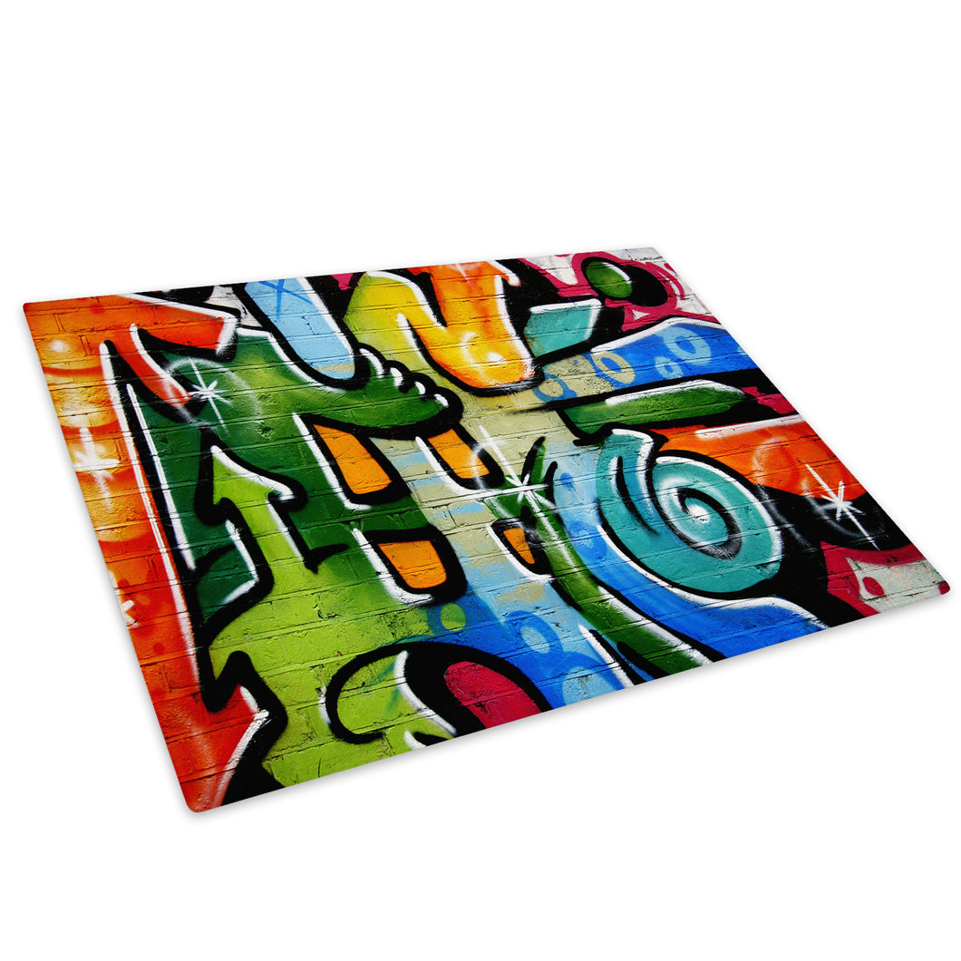 Blue Green Graffiti Glass Chopping Board Kitchen Worktop Saver Protector - AB097-Abstract Chopping Board-WhatsOnYourWall