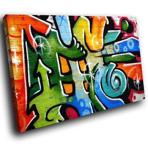 AB097 Framed Canvas Print Colourful Modern Abstract Wall Art - Blue Green Graffiti-Canvas Print-WhatsOnYourWall